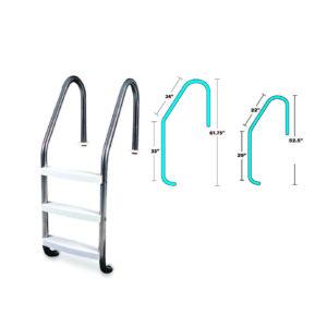 3 Step Inground Stainless Steel Ladder